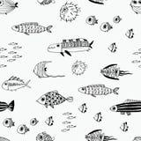 Leuke de zomervissen Naadloos patroon Stock Afbeeldingen