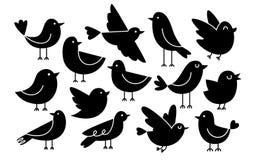 Leuke die Beeldverhaalvogels op Witte Achtergrond worden geïsoleerd vector illustratie