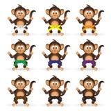 Leuke die chimpansee met karate de riemen van de opleidingskleur weinig aap eps10 wordt geplaatst Royalty-vrije Stock Foto's