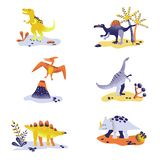 Leuke die dinosaurussen op witte achtergrond worden geïsoleerd Dinosaurusvoetafdruk, Vulkaan, Palm, Stenen Baby Dino Collection vector illustratie