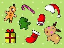 Leuke die Kerstmis met beeldverhaalpictogrammen wordt geplaatst stock illustratie