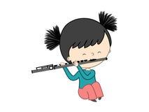 Leuke die meisje het spelen fluit op witte achtergrond wordt geïsoleerd Stock Fotografie
