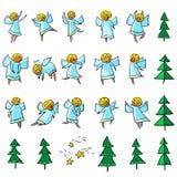 Leuke die pictogrammen met engelen worden geplaatst Dansing en het vliegen de godsdienst van de lijnkunst stock illustratie