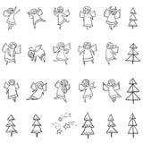 Leuke die pictogrammen met engelen worden geplaatst Dansing en het vliegen de godsdienst van de lijnkunst vector illustratie
