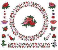 Leuke die ronde van papavers en tulpen met eindeloze die grens wordt gemaakt op wit wordt geïsoleerd stock illustratie