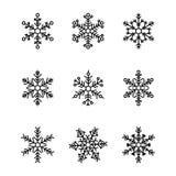 Leuke die sneeuwvlokkeninzameling op witte achtergrond wordt geïsoleerd royalty-vrije illustratie