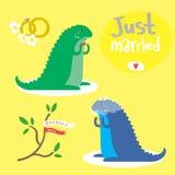 Leuke die vector met twee twee dinosaurussen wordt geplaatst Stock Foto