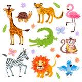 Leuke die wildernis en safaridierenvector voor jonge geitjesboek wordt geplaatst stock illustratie