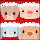 Leuke dieren in de vierkante vectorillustratie van de Kerstmishoed Bosdieren vrolijk gezicht Malplaatje van de nieuwjaar het vier stock illustratie