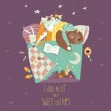 Leuke dieren die in bed slapen vector illustratie