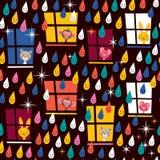 Leuke dieren die regen op patroon letten Stock Afbeeldingen