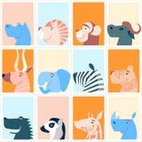 Leuke dieren Kleurrijke leuke maandelijkse kalender Kan voor Web, banner, affiche, etiket worden gebruikt en voor het drukken ges royalty-vrije illustratie