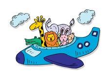 Leuke dieren op een vliegtuig stock illustratie