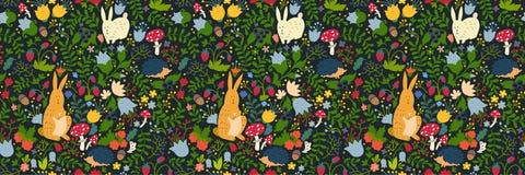 Leuke dieren op magisch bos naadloos patroon Konijn en egel vectorillustraties voor baby Stock Afbeelding