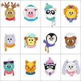 Leuke dieren Reeks kleuren vectorillustraties vector illustratie
