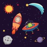 Leuke dierlijke astronauten in ruimte royalty-vrije illustratie
