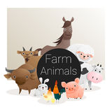 Leuke dierlijke familieachtergrond met landbouwbedrijfdieren Stock Foto's