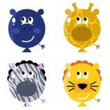 Leuke dierlijke geplaatste ballongezichten Stock Afbeeldingen
