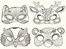 Leuke dierlijke maskers Royalty-vrije Stock Foto's