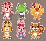 Leuke dierlijke stickers Stock Afbeeldingen