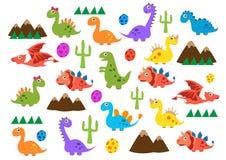 Leuke dinosaurussen Vectorillustratie van Juradieren Beeldverhaal naadloos patroon op een gele achtergrond Het kan voor backg wor royalty-vrije illustratie