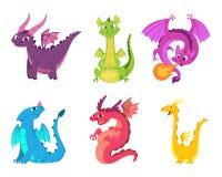 Leuke draken Fairytaleamfibieen en reptielen met vleugels en tanden de middeleeuwse vectorkarakters van fantasie wilde schepselen vector illustratie