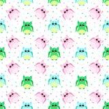 Leuke droevige roze, blauwe, groene gekleurde uilen Royalty-vrije Stock Foto's
