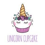 Leuke eenhoorn cupcake op een witte achtergrond Royalty-vrije Stock Foto's