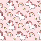 Leuke eenhoorn en Achtergrond van het regenboog de Naadloze Patroon stock illustratie