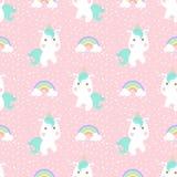Leuke eenhoorn met regenboog en punt naadloos patroon stock foto