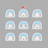 Leuke Eenvoudige Geplaatste het Meisjesemoties van Tekenings Blauwe HairBaby Stock Afbeelding