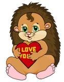 Leuke egel die rood hart met woorden I houden liefde u. Prentbriefkaar aan de de Dag en Moederdag van de Valentijnskaart Royalty-vrije Stock Foto