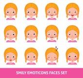 Leuke emoji van het meisjeskind, reeks smily emoticons gezichten vector illustratie