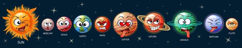 Leuke emojiplaneten van het zonnestelsel Zon, Mercury, Venus, Aarde, Mars, Jupiter, Saturn, Uranus, Neptunus, Pluto vector illustratie