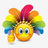 Leuke emoticon met duim die omhoog Carnaval-hoofddeksel - emoji dragen - vectorillustratie stock illustratie