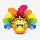Leuke emoticon op witte achtergrond met Carnaval-hoofddeksel beweging veroorzakende - smiley - vectorillustratie royalty-vrije illustratie