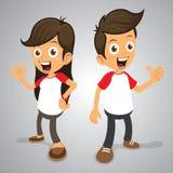 Leuke en Gelukkige Paren in Wit Rood Overhemd Stock Foto's
