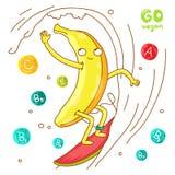 Leuke en grappige banaanbranding stock illustratie
