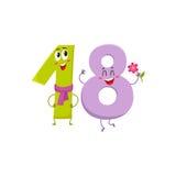 Leuke en grappige kleurrijke 18 aantallenkarakters, verjaardagsgroeten Royalty-vrije Stock Afbeeldingen