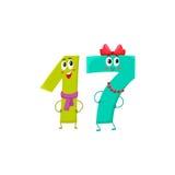Leuke en grappige kleurrijke 17 aantallenkarakters, verjaardagsgroeten Royalty-vrije Stock Foto