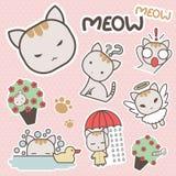 Leuke en Zoete Miauw Cat Cartoon Sticker Art - Vector Stock Fotografie