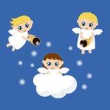 Leuke engelen met sterren royalty-vrije illustratie