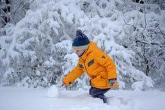 Leuke Europese jongen in een sneeuwbos royalty-vrije stock fotografie