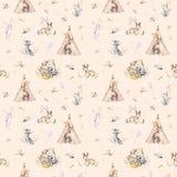 Leuke familiebaby raccon, herten en konijntje de dierlijke kinderdagverblijfgiraf, en draagt geïsoleerde illustratie Waterverfboh Royalty-vrije Stock Afbeeldingen