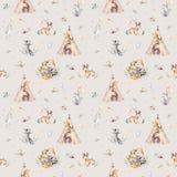 Leuke familiebaby raccon, herten en konijntje de dierlijke kinderdagverblijfgiraf, en draagt geïsoleerde illustratie Waterverfboh Stock Afbeelding