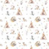 Leuke familiebaby raccon, herten en konijntje de dierlijke kinderdagverblijfgiraf, en draagt geïsoleerde illustratie Waterverfboh Royalty-vrije Stock Foto's
