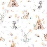 Leuke familiebaby raccon, herten en konijntje de dierlijke kinderdagverblijfgiraf, en draagt geïsoleerde illustratie Waterverfboh Stock Fotografie