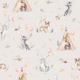 Leuke familiebaby raccon, herten en konijntje de dierlijke kinderdagverblijfgiraf, en draagt geïsoleerde illustratie Waterverfboh Stock Afbeeldingen