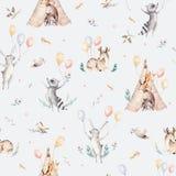 Leuke familiebaby raccon, herten en konijntje de dierlijke kinderdagverblijfgiraf, en draagt geïsoleerde illustratie Waterverfboh Royalty-vrije Stock Afbeelding
