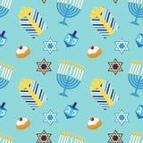 Leuke feestelijke naadloze patroon Gelukkige Chanoeka in traditionele kleuren Royalty-vrije Stock Afbeeldingen